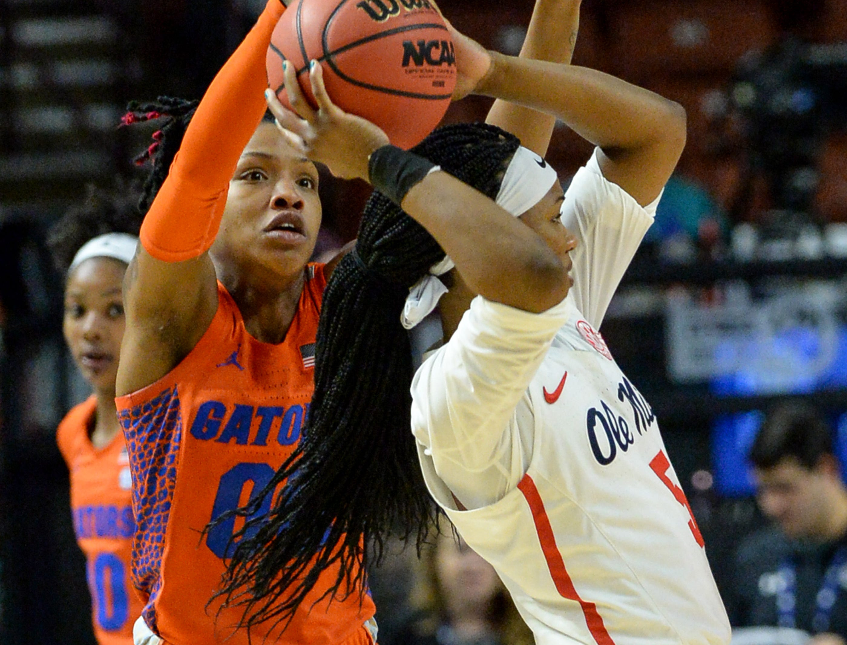 Florida guard Delicia Washington(0) pressures Ole Miss senior Crystal Allen (5) during the fourth quarter of the Southeastern Conference Women's Tournament game at Bon Secour Wellness Arena in Greenville Wednesday, March 6, 2019.