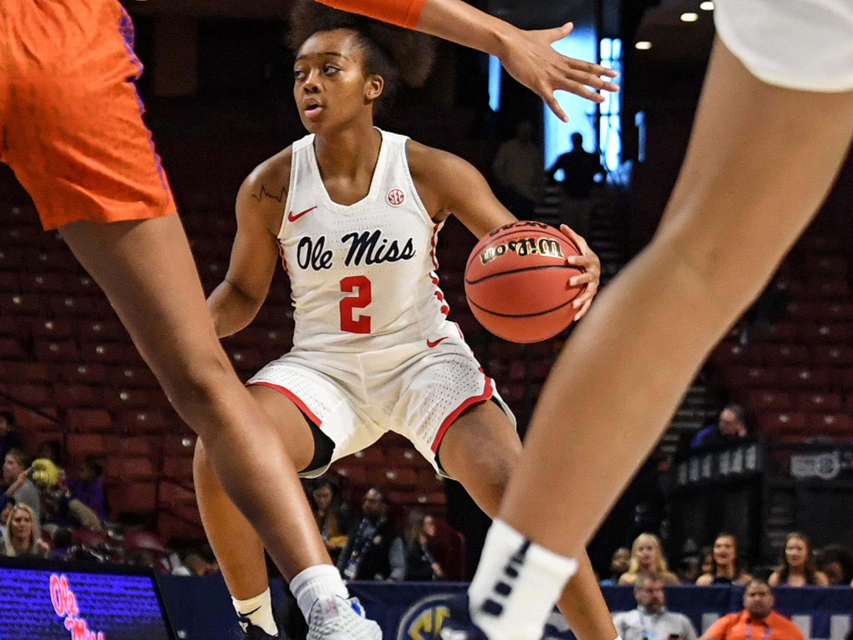 Ole Miss freshman Mimi Reid(2) during the fourth quarter of the Southeastern Conference Women's Tournament game at Bon Secour Wellness Arena in Greenville Wednesday, March 6, 2019.