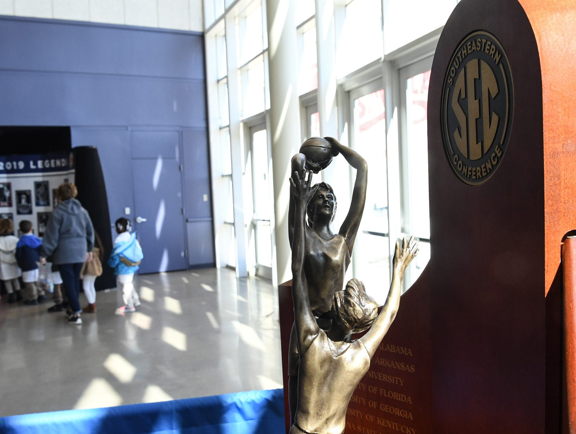 The trophy in the concourse before the first SEC Women's basketball tournament game, Ole Miss and Florida, in Greenville Wednesday. The tournament lasts through Sunday.