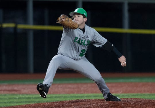 Easley High School's Devyn Bond (22) pitches against Westside High School at Westside High School Tuesday, Mar. 5, 2019.