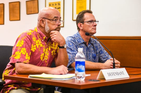 Former Lt. Gov. Ray Tenorio, right,  with his attorney, Tom Fisher, during apre-trial hearing at the Judiciary of Guam Northern Court Satellite on March 6.