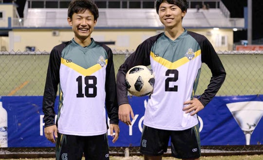Ryoga Okada, right, and Ichiyo Kawmata prior to a game against the Islanders FC game.