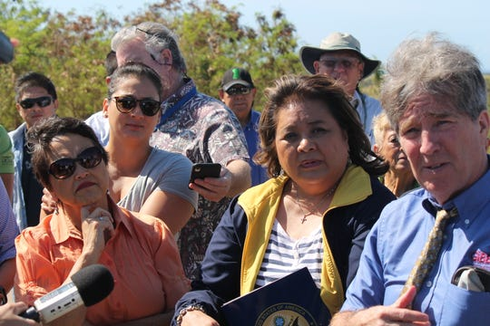From left, Gov. Lou Leon Guerrero, Sen. Telena Nelson and Chief Judge Frances Tydingco-Gatewood listen as Chace Anderson, right, provides information about the Layon landfill during a tour of the site Wednesday morning, March 6. Anderson is  operations manager for solid waste receiver Gershman, Brickner and Bratton.