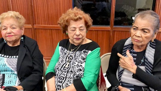 From left, World War II survivors 82-year-old Rose Diaz, 89-year-old Agnes Perez Unpingco and 80-year-old Rosa Quitano on March 6, 2019 share their childhood experiences during the Japanese occupation of Guam. They were present at the Wednesday public hearing on Sen. Amanda Shelton's resolution supporting a congressional bill on Guam war reparations.