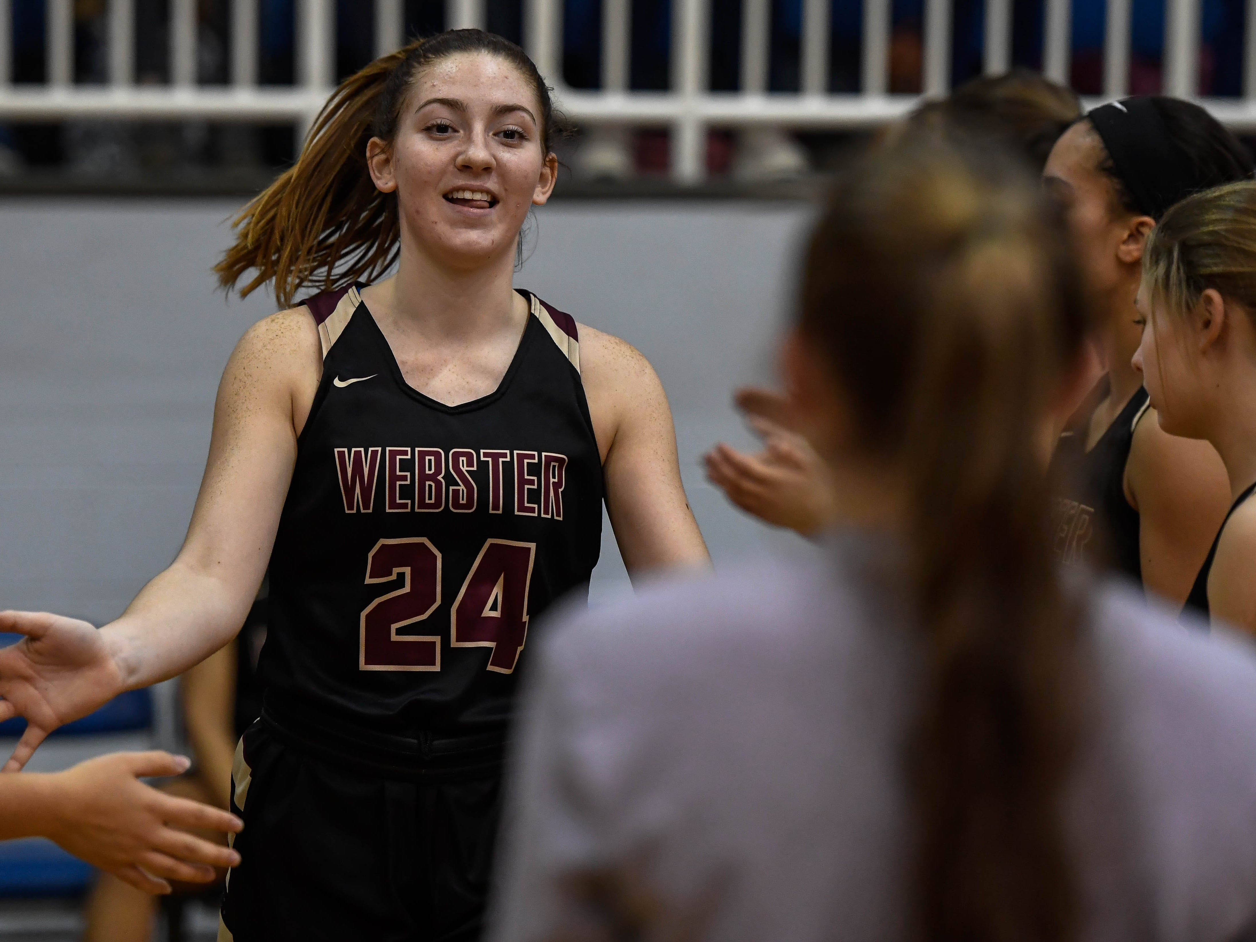 Webster County's Adeline McDyer (24) in introduced as the Webster County Lady Trojans play the Henderson County Colonels for the Girls Second Region Championship at the Rocket Arena in Marion Tuesday, March 5, 2019.