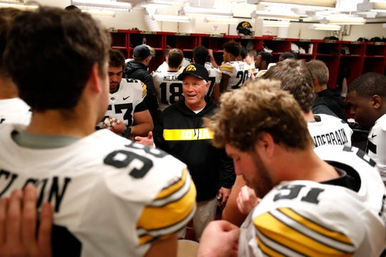 Reese Morgan, shown inside the locker room at Indiana this past season, spent his final 19 years of coaching with the Iowa football program.