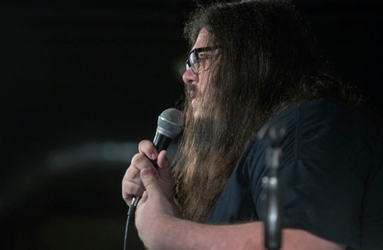 Patrick Murray tells jokes during a weekly open microphone run by Rocketship Comedy at Shoefly Public House, Indianapolis, Monday, Sept. 17, 2018.