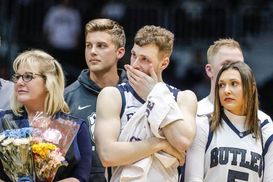 Butler Bulldogs guard Paul Jorgensen (5) and his family listen to a tribute in senior night after a game between the Butler University Bulldogs and Xavier University Musketeers at Hinkle Fieldhouse on Tuesday, March 5, 2019.
