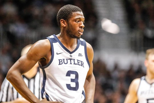 Butler Bulldogs guard Kamar Baldwin (3) awaits a team mates foul shot during a game between the Butler University Bulldogs and Xavier University Musketeers at Hinkle Fieldhouse on Tuesday, March 5, 2019.