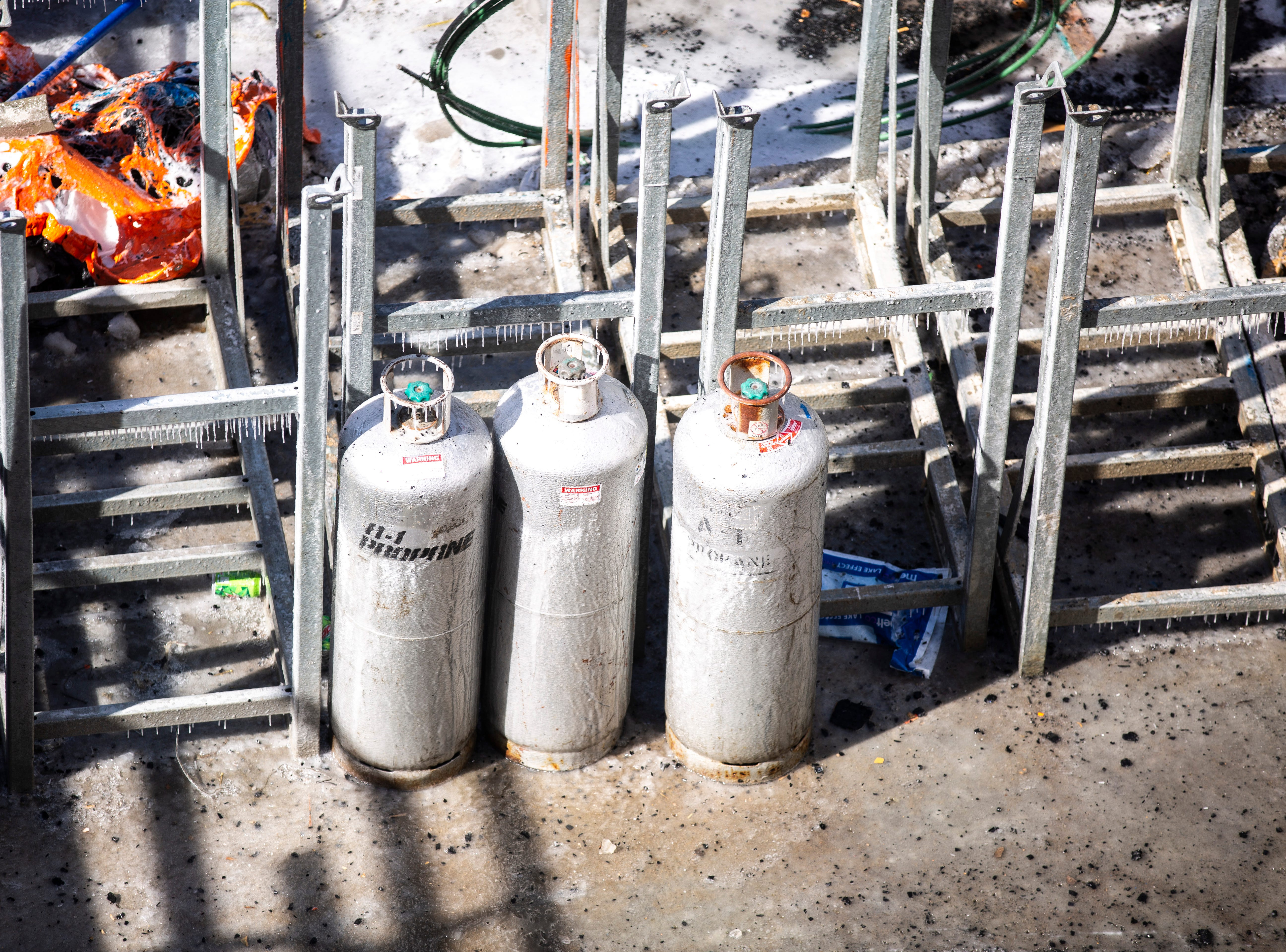 Propane cylinders sit at the Hieronymous Square construction site on Wednesday, March 6, 2019, at 314 S. Clinton Street in downtown Iowa City, Iowa.