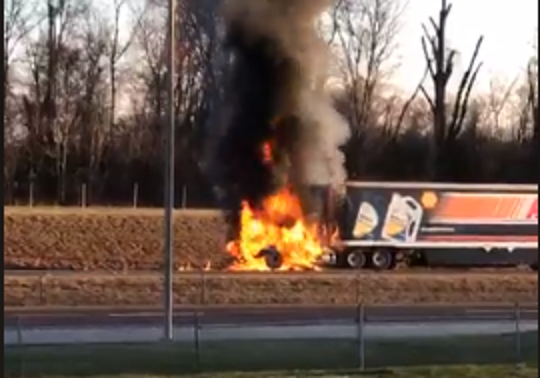 A screenshot from the video posted on Facebook this morning of a burning 18-wheeler on I-40 near Delta Faucet in Jackson.