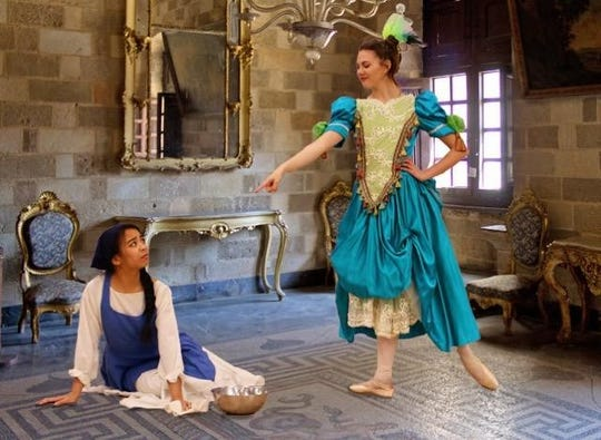 Elyzah Gasmen, left, portrays the title character in Cinderella for Ballet Arts of Jackson next weekend. Maggie Pierson, right, is one of the stepsisters.