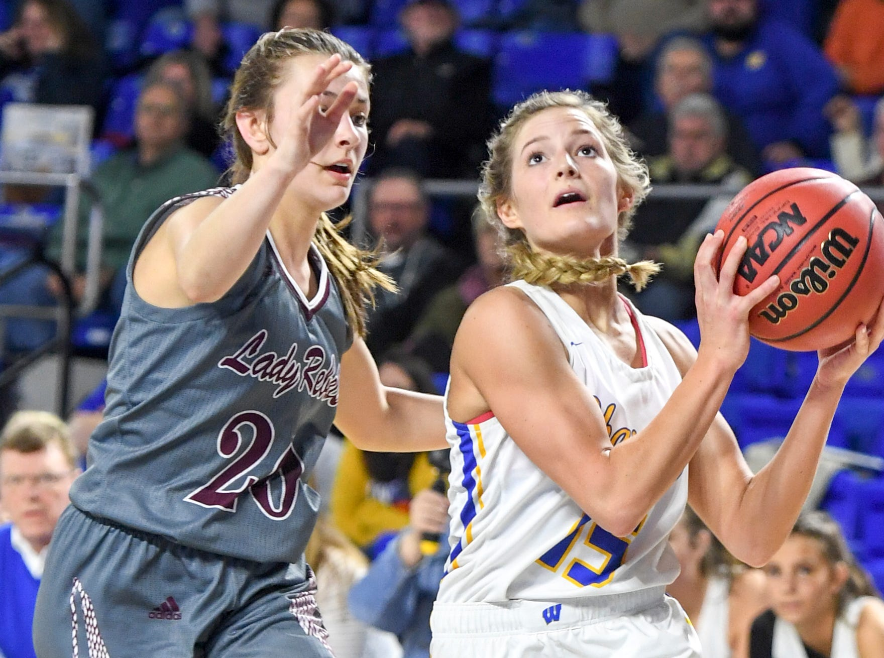 Westview's Alex Callins (15) goes up for a shot while guarded by South Greene's Kiley Collins (20) during their Class AA quarterfianl game, Wednesday, March 6, 2019, in Murfreesboro. Westview defeated South Greene, 54-42.