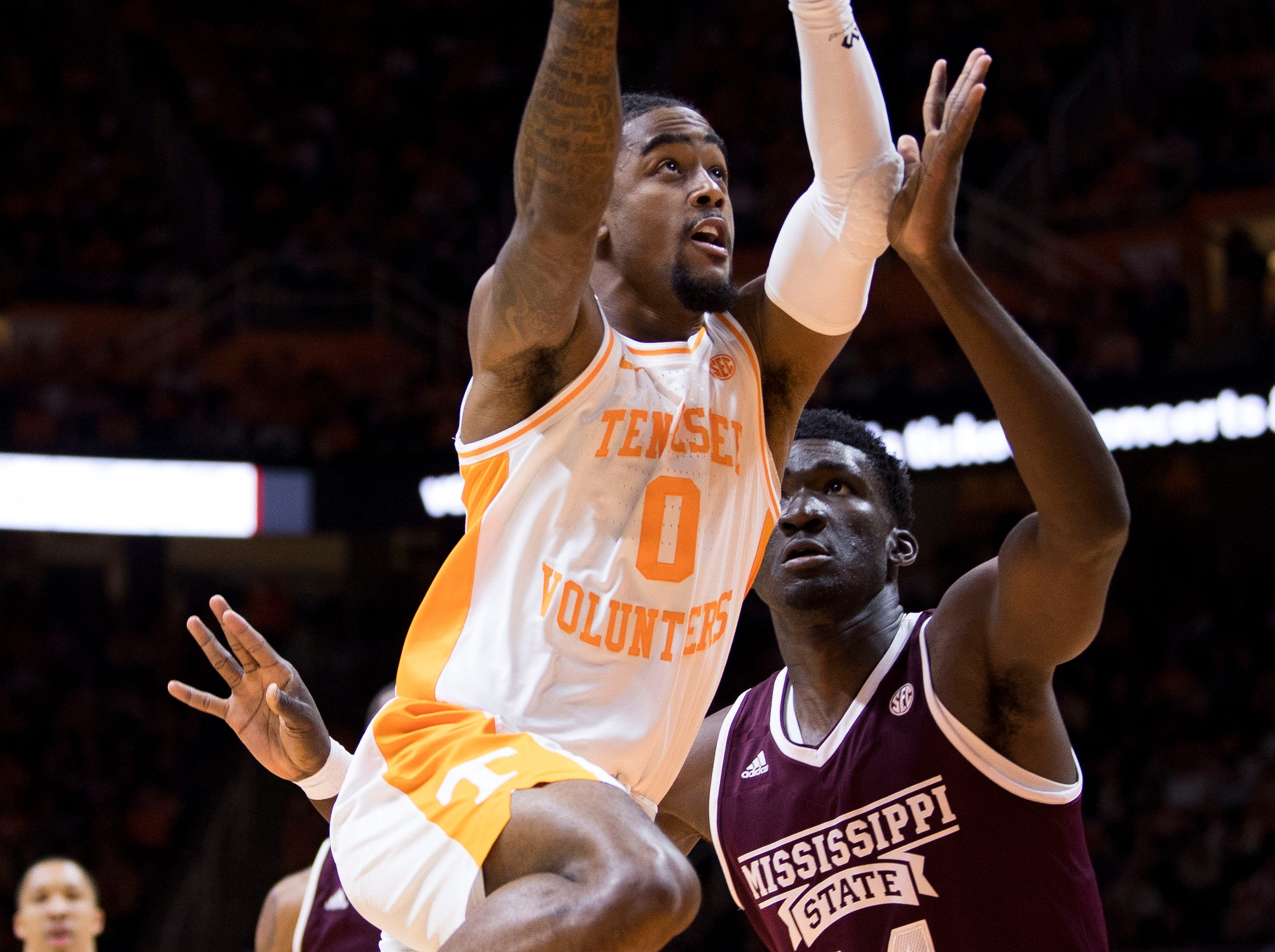 Tennessee guard Jordan Bone (0) attempts a shot during Tennessee's home finale against Mississippi State at Thompson-Boling Arena in Knoxville on Tuesday, March 5, 2019.