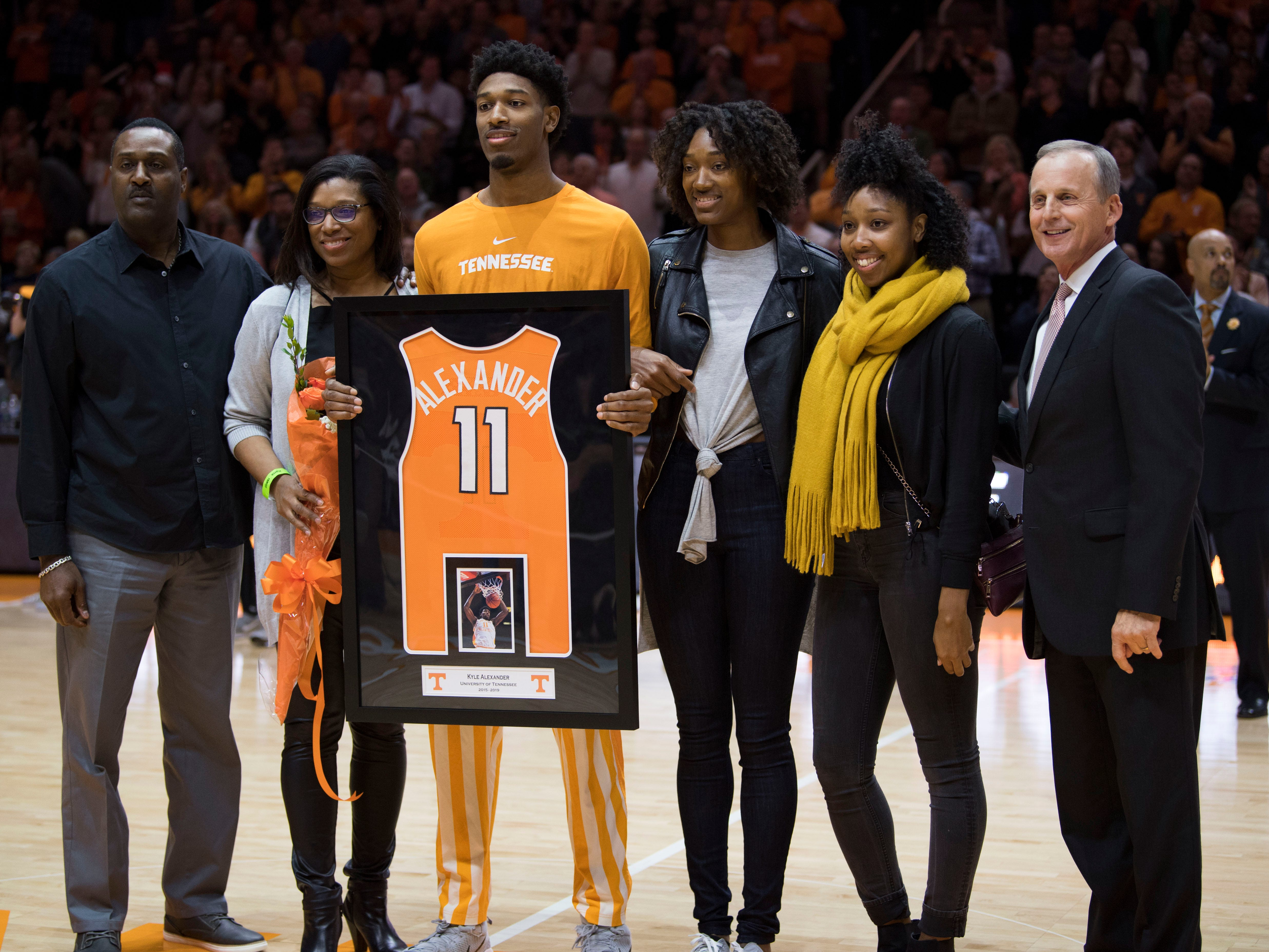 Tennessee forward Kyle Alexander (11) is recognized during Senior Night before Tennessee's home finale against Mississippi State at Thompson-Boling Arena in Knoxville on Tuesday, March 5, 2019.