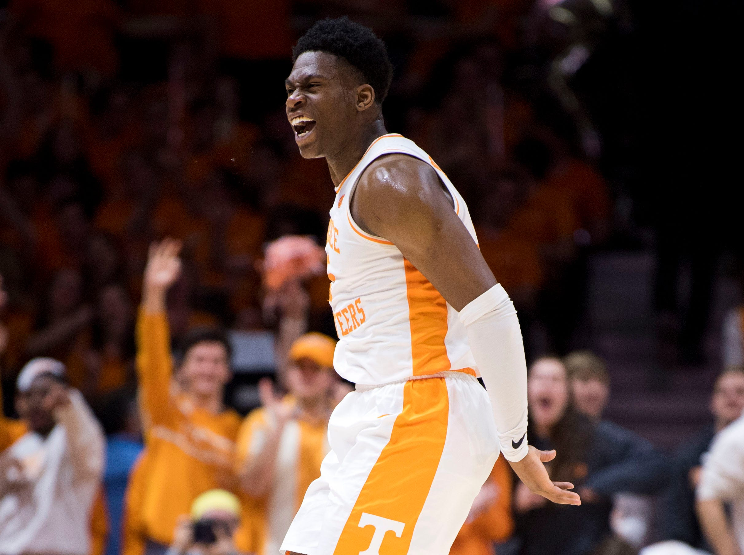 Tennessee guard Admiral Schofield (5) celebrates a play during Tennessee's home finale against Mississippi State at Thompson-Boling Arena in Knoxville on Tuesday, March 5, 2019.