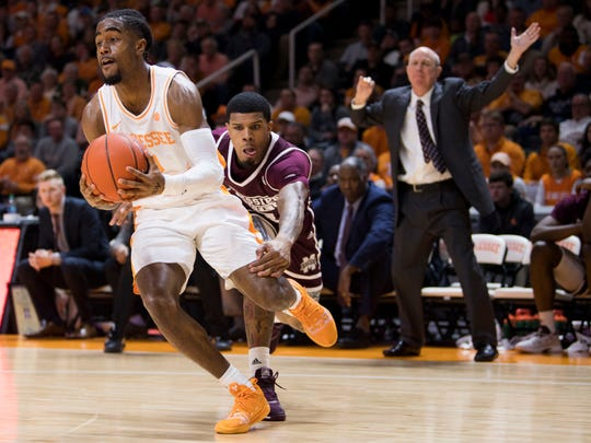 Tennessee guard Jordan Bone (0) drives past Mississippi State guard Lamar Peters (2) during Tennessee's home finale against Mississippi State at Thompson-Boling Arena in Knoxville on Tuesday, March 5, 2019.