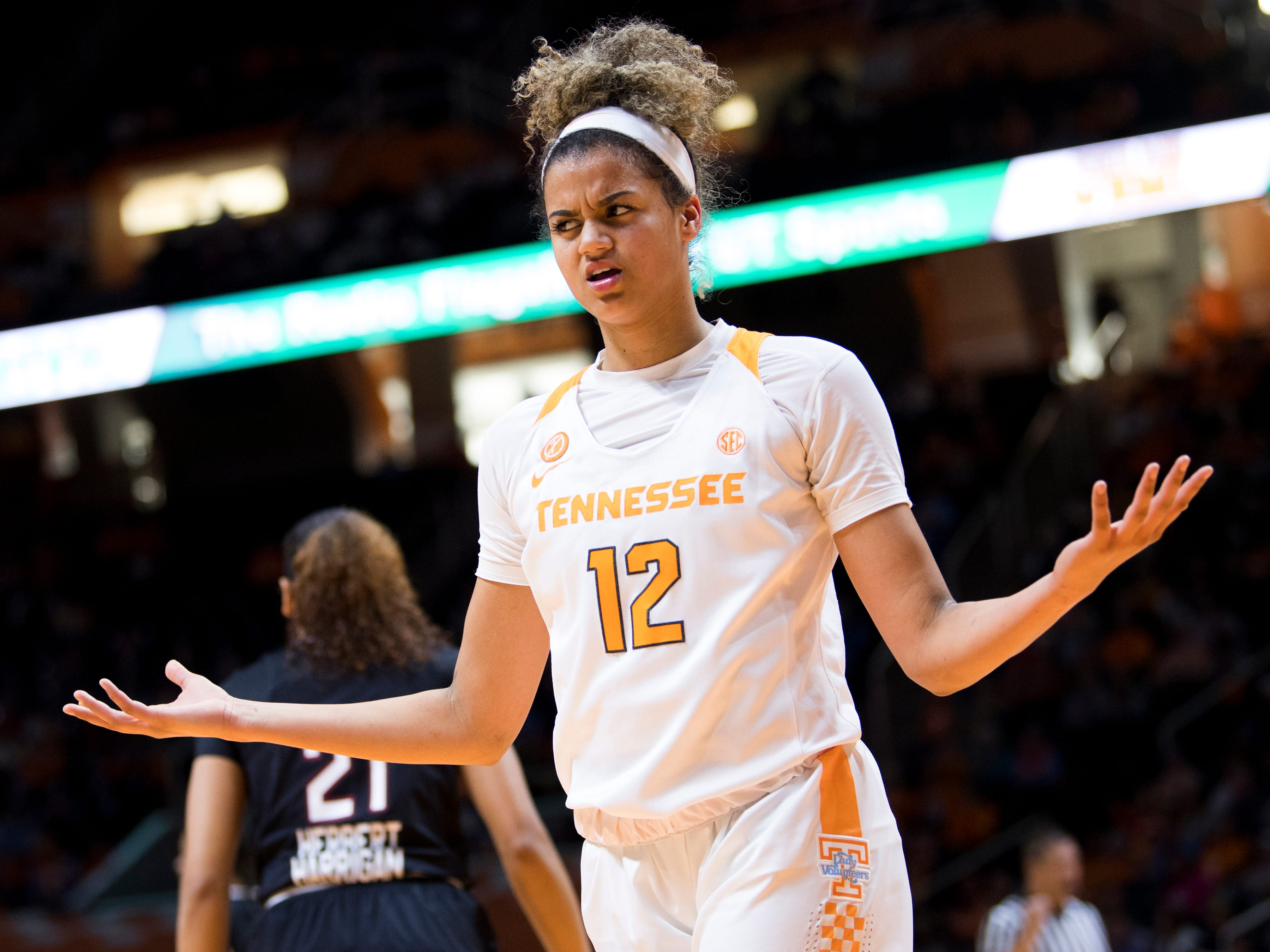 Tennessee guard Rae Burrell (12) reacts to a call against Tennessee during the Lady Vols' home SEC game against South Carolina at Thompson-Boling Arena in Knoxville on Sunday, February 24, 2019.