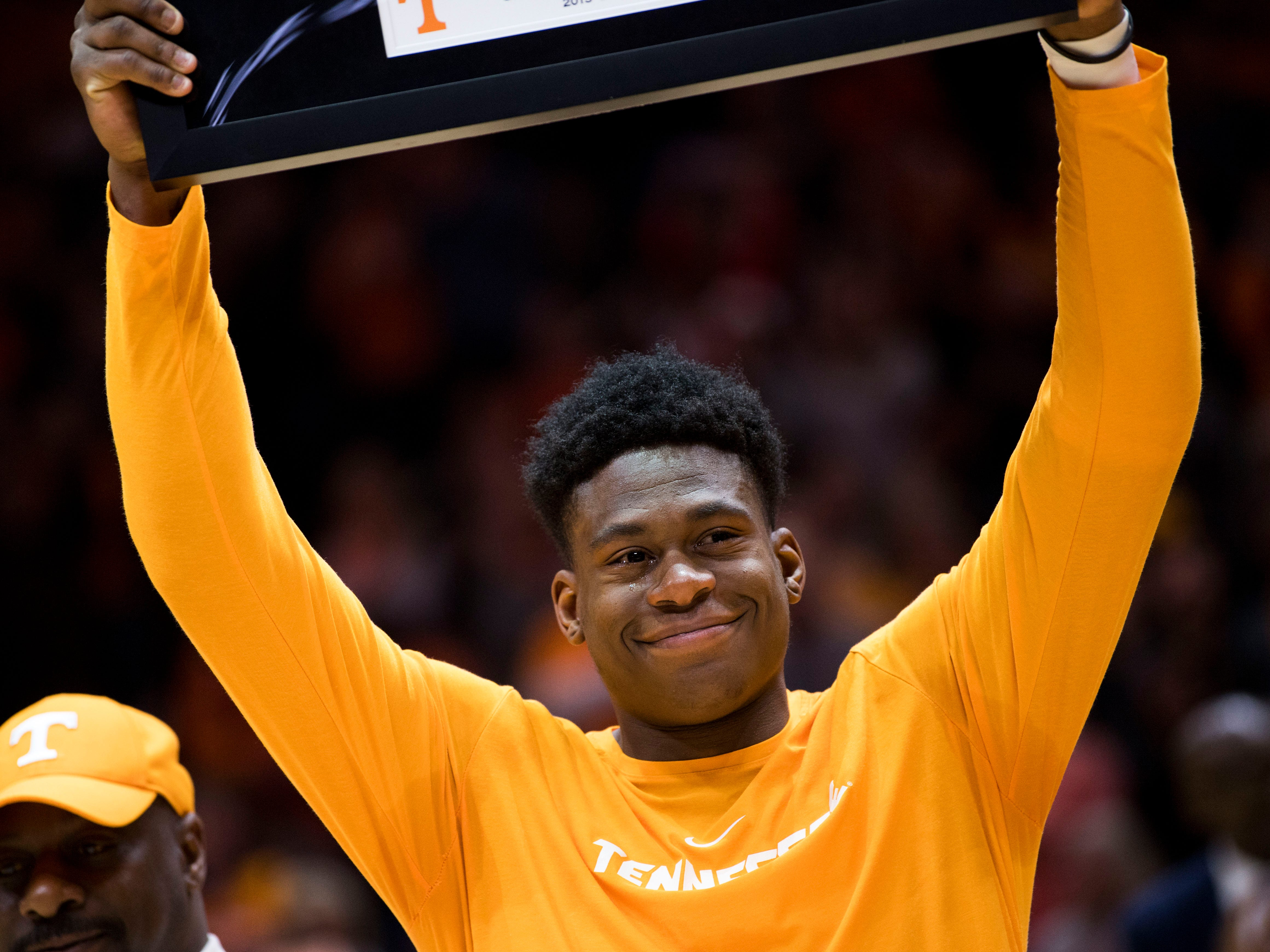 Tennessee guard Admiral Schofield (5) is recognized during Senior Night before Tennessee's home finale against Mississippi State at Thompson-Boling Arena in Knoxville on Tuesday, March 5, 2019.