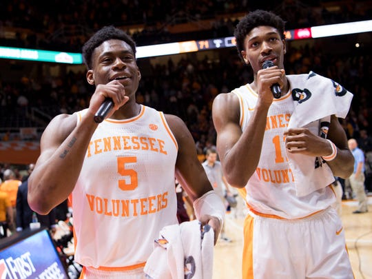 Tennessee guard Admiral Schofield (5) and Tennessee forward Kyle Alexander (11) speak to the crowd after Tennessee's home finale against Mississippi State at Thompson-Boling Arena in Knoxville on Tuesday, March 5, 2019.