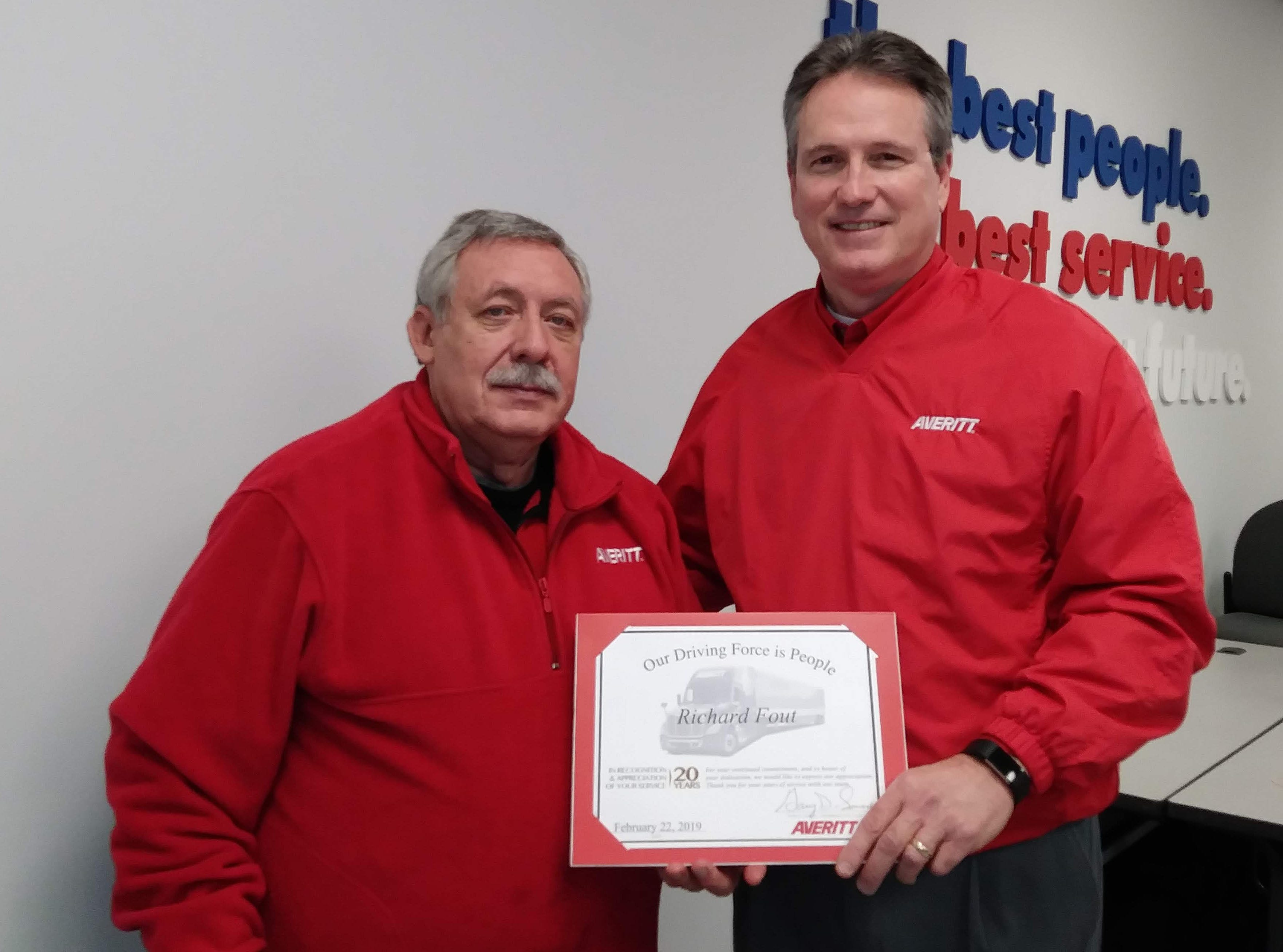 """Averitt Express recently honored associate Richard Fout of Knoxville for 20 years of service. He is now among the more than 1,100 active Averitt associates who are members of the company's """"Over 20 Team,"""" an exclusive group of associates who have served 20 or more years with Averitt."""