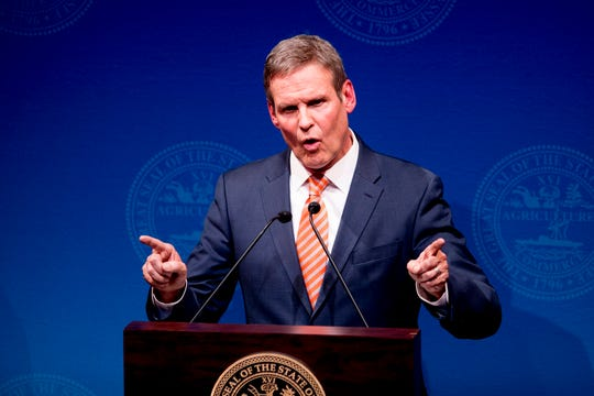 Governor Bill Lee speaks during his State of East Tennessee address at the Clarence Brown Theatre in Knoxville, Tennessee on Tuesday, March 5, 2019. Gov. Lee will give a similar State of West Tennessee address Thursday at the University of Memphis.