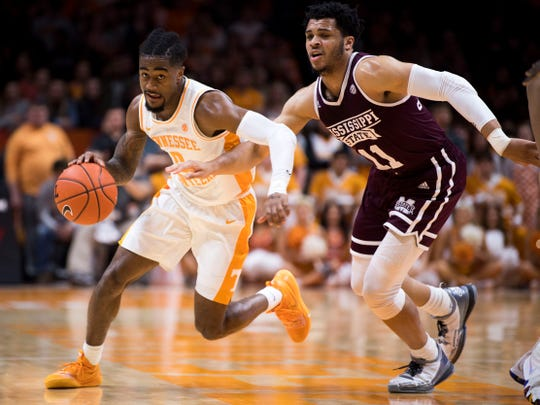 Tennessee guard Jordan Bone (0) drives down court during Tennessee's home finale against Mississippi State at Thompson-Boling Arena in Knoxville on Tuesday, March 5, 2019.