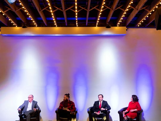 The Innov865 Alliance hosts a mayoral candidate forum with Eddie Mannis, Fletcher Burkhardt, Marshall Stair and Indya Kincannon at Relix on March 5, 2019.