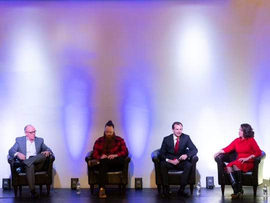 The Innov865 Alliance hosts a mayoral candidate forum with, from left, Eddie Mannis, Fletcher Burkhardt, Marshall Stair, and Indya Kincannon at Relix on Tuesday, March 5, 2019.