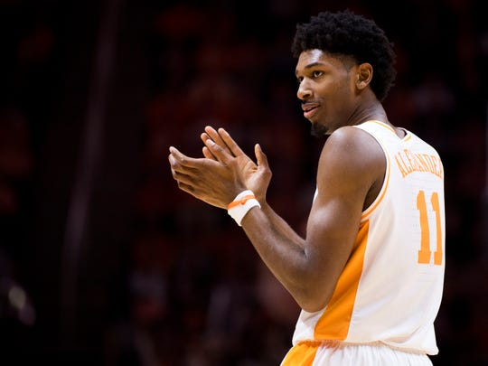 Tennessee forward Kyle Alexander (11) applauds a call made against Mississippi State during Tennessee's home finale against Mississippi State at Thompson-Boling Arena in Knoxville on Tuesday, March 5, 2019.