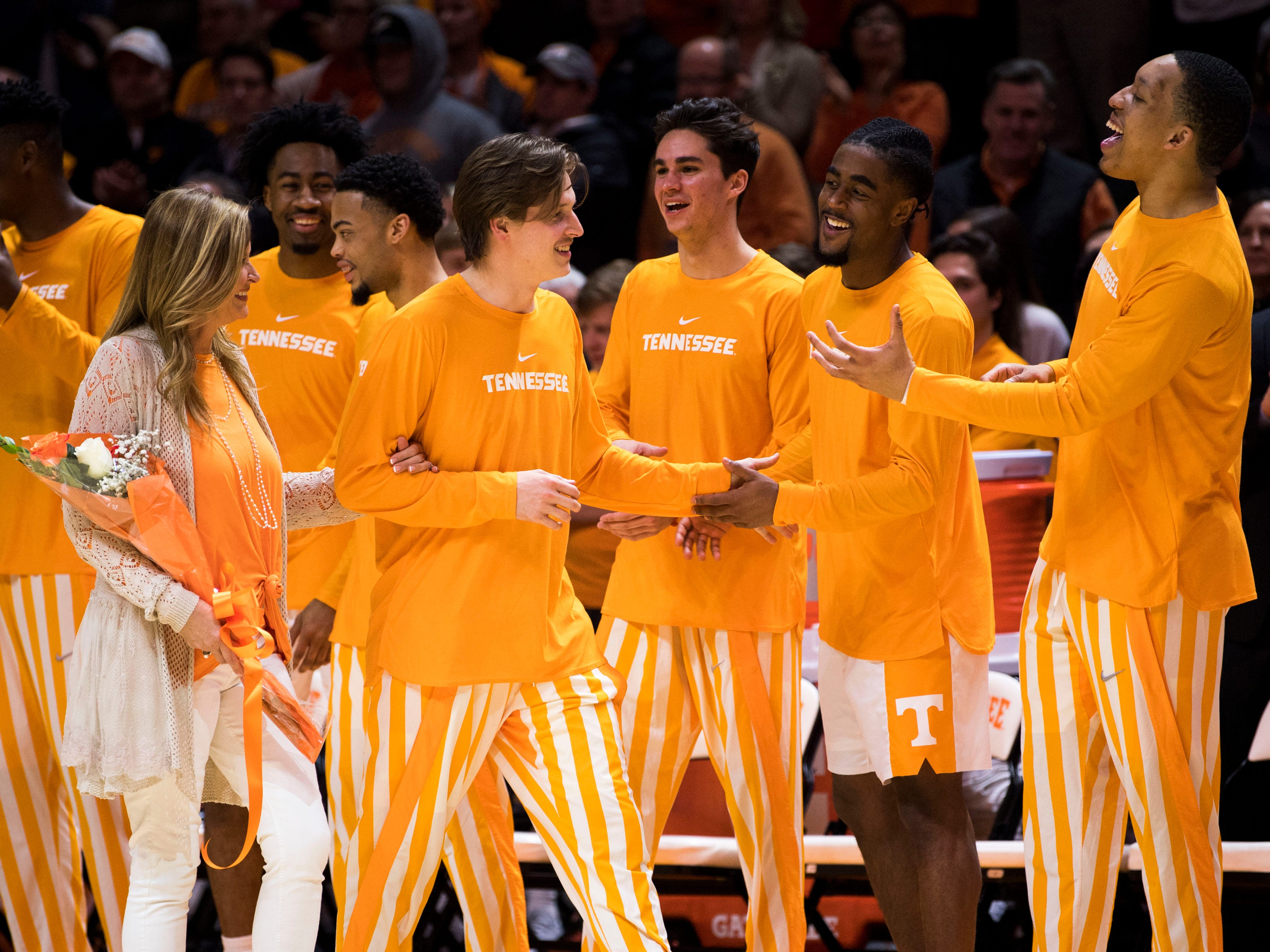 Tennessee guard Lucas Campbell (24) is recognized during Senior Night before Tennessee's home finale against Mississippi State at Thompson-Boling Arena in Knoxville on Tuesday, March 5, 2019.