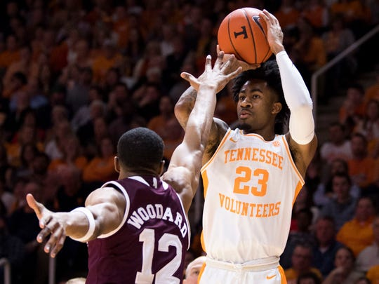 Tennessee guard Jordan Bowden (23) attempts a shot during Tennessee's home finale against Mississippi State at Thompson-Boling Arena in Knoxville on Tuesday, March 5, 2019.