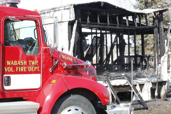 Wabash Township firefighters were called at 4:33 a.m. Wednesday to extinguish the fire at this mobile home. Nineteen-year-old Margaret Woods died in the fire, which was at the 52 Mobile Home Estate near West Lafayette.