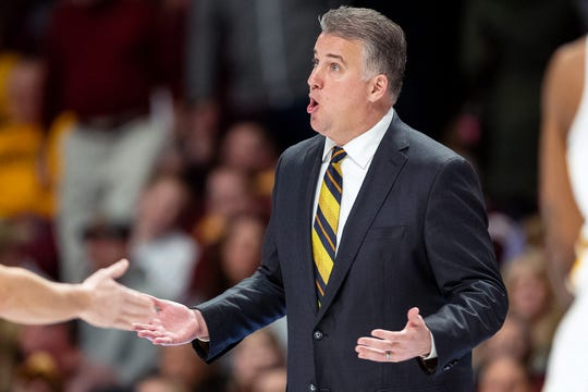 Mar 5, 2019; Minneapolis, MN, USA; Purdue Boilermakers head coach Matt Painter argues a call during the first half against the Minnesota Gophers at Williams Arena. Mandatory Credit: Harrison Barden-USA TODAY Sports