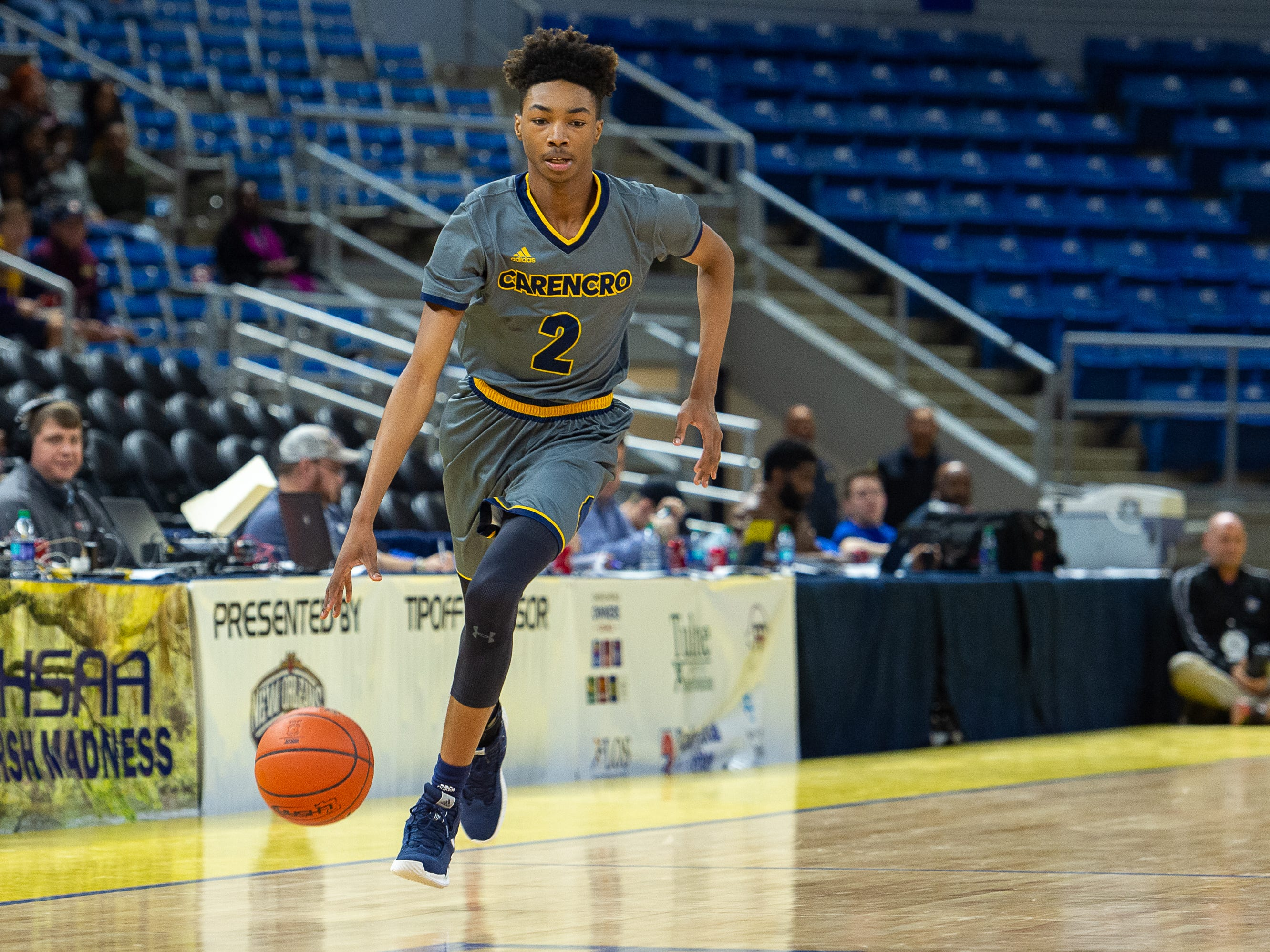 Joseph Charles drives the ball as Carencro falls to Bossier in the Semi Final round of the LHSAA State Championships. Tuesday, March 5, 2019.