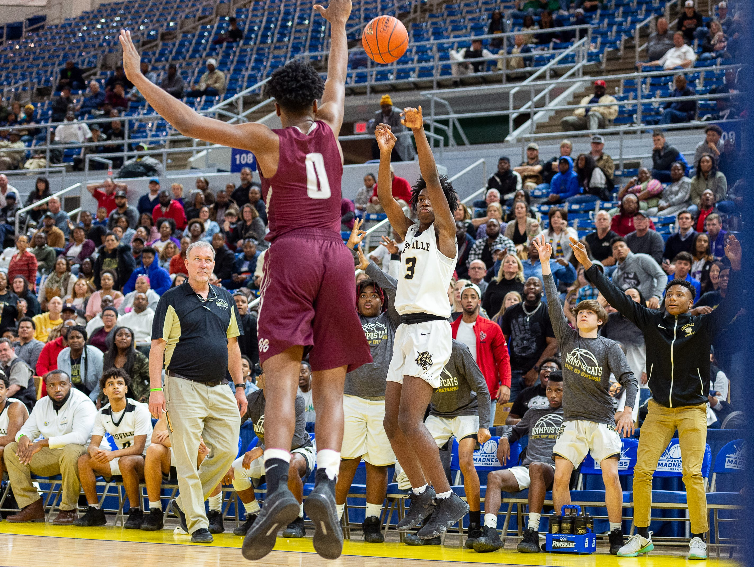Deondre Wilson takes a shot as Breaux Bridge takes on Leesville in the semi final round of the LHSAA Basketball Championship Tournament. Tuesday, March 5, 2019.