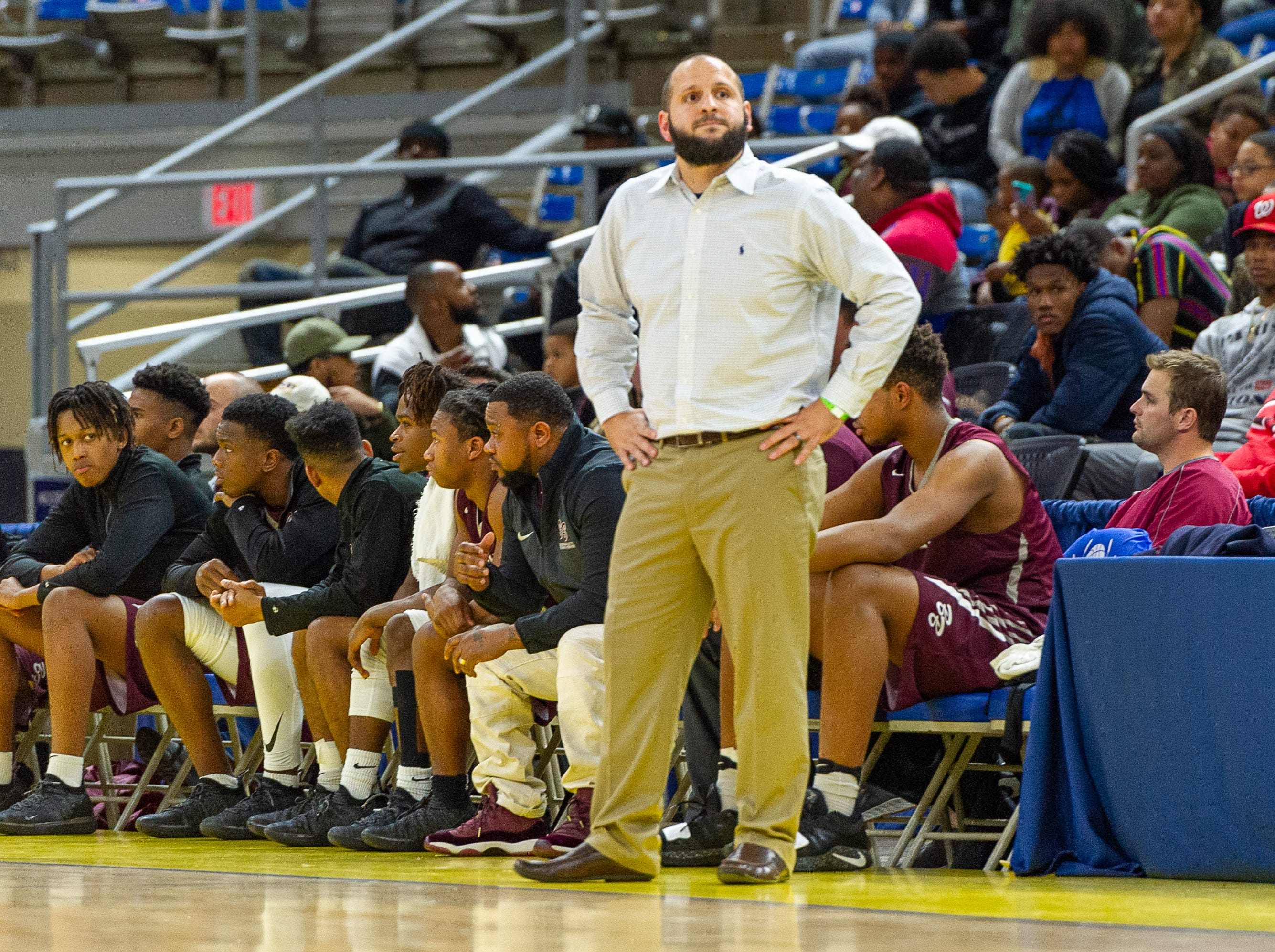 Breaux Bridge Head Coach Chad Pourciau II as Breaux Bridge takes on Leesville in the semi final round of the LHSAA Basketball Championship Tournament. Tuesday, March 5, 2019.