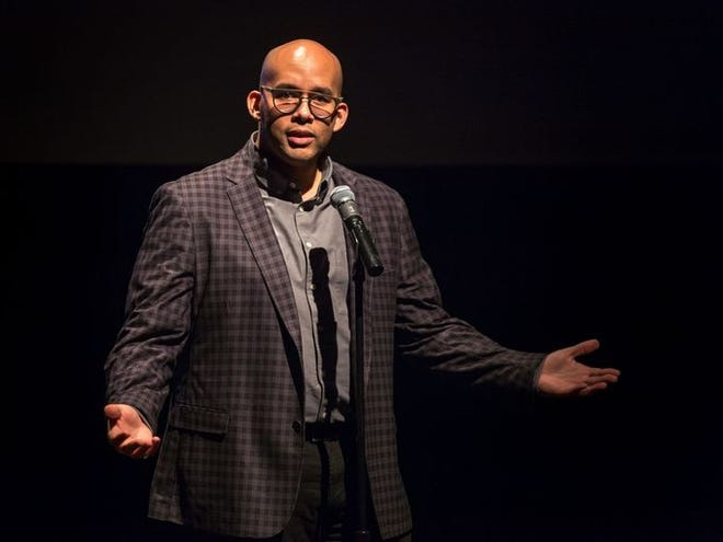 "Andre Arceneaux shared a story about a fresh start at a Lafayette Storytellers show on Jan. 23, 2018. ""Growing Up"" is the theme of the Storytellers' next show at 7 p.m. April 16 at the Acadiana Center for the Arts. Tickets are free, but seats must be reserved in advance."
