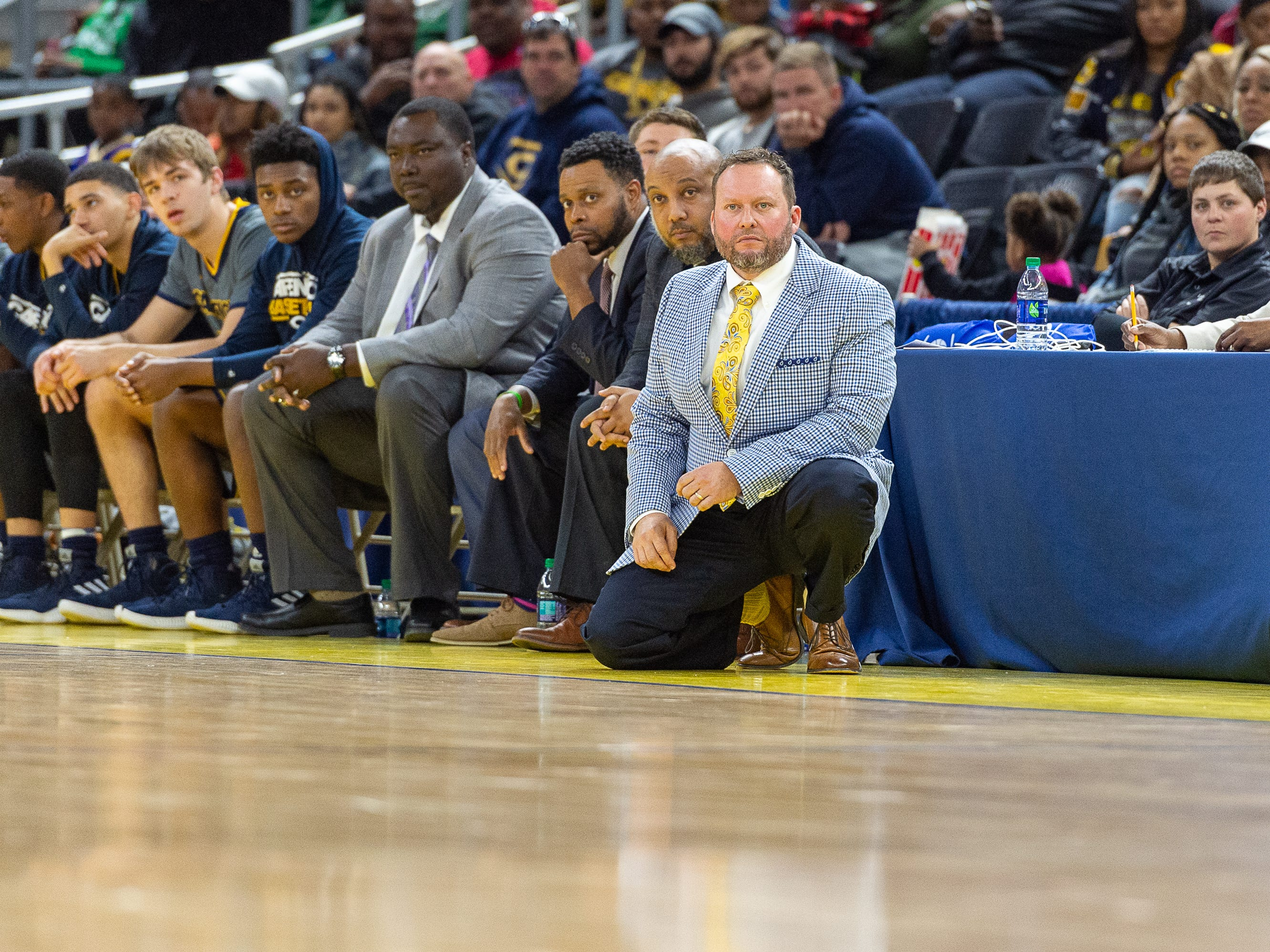 Head Coach Christopher Kovatch as Carencro falls to Bossier in the Semi Final round of the LHSAA State Championships. Tuesday, March 5, 2019.