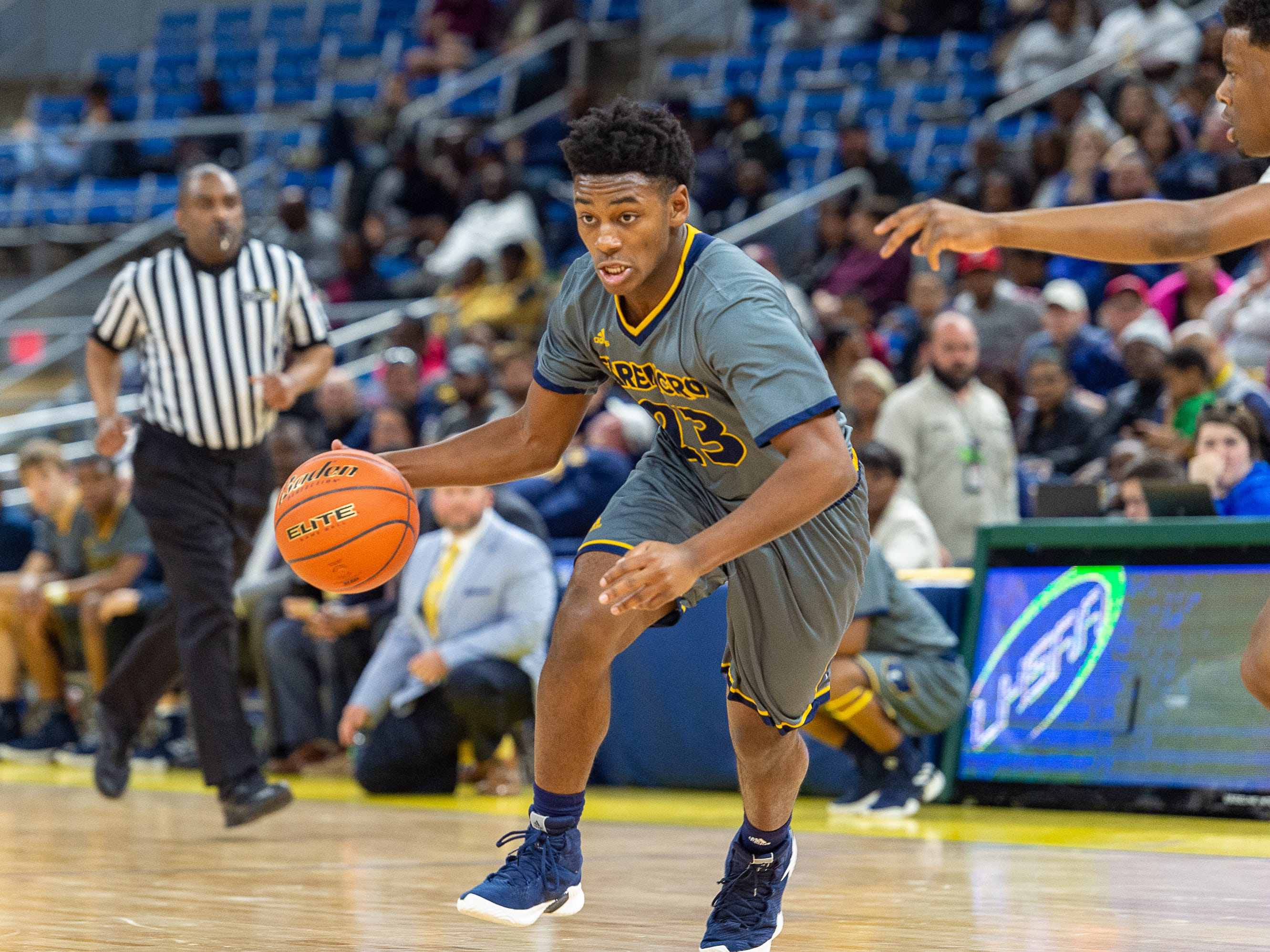 Lucas Williams drives to the basket as Carencro falls to Bossier in the Semi Final round of the LHSAA State Championships. Tuesday, March 5, 2019.