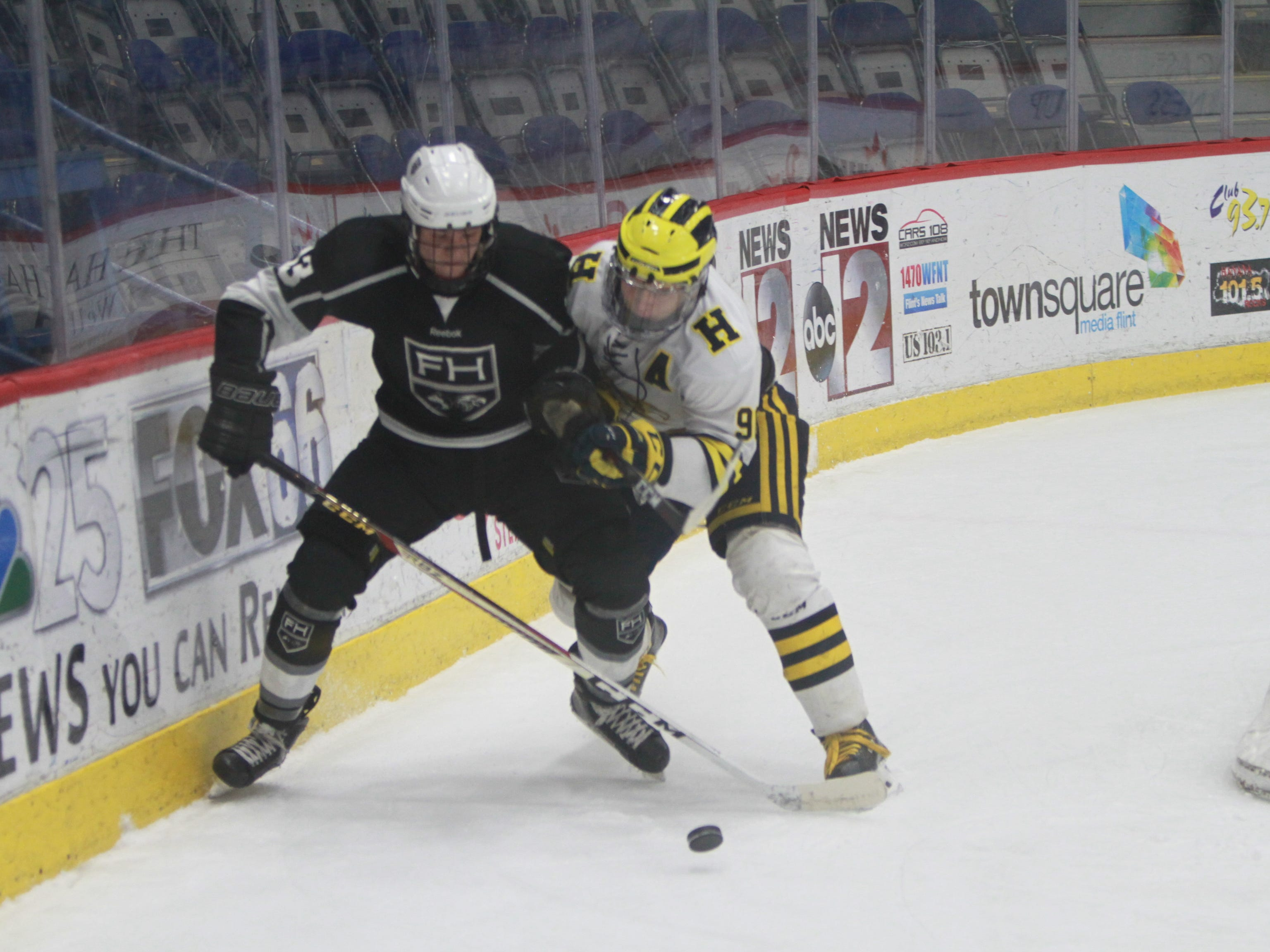 Hartland's Owen Pietila (right) and Forest Hills Eastern's Cure Cumming battle for the puck behind the net during the state Division 2 hockey quarterfinals in Flint on Tuesday, March 5, 2019.