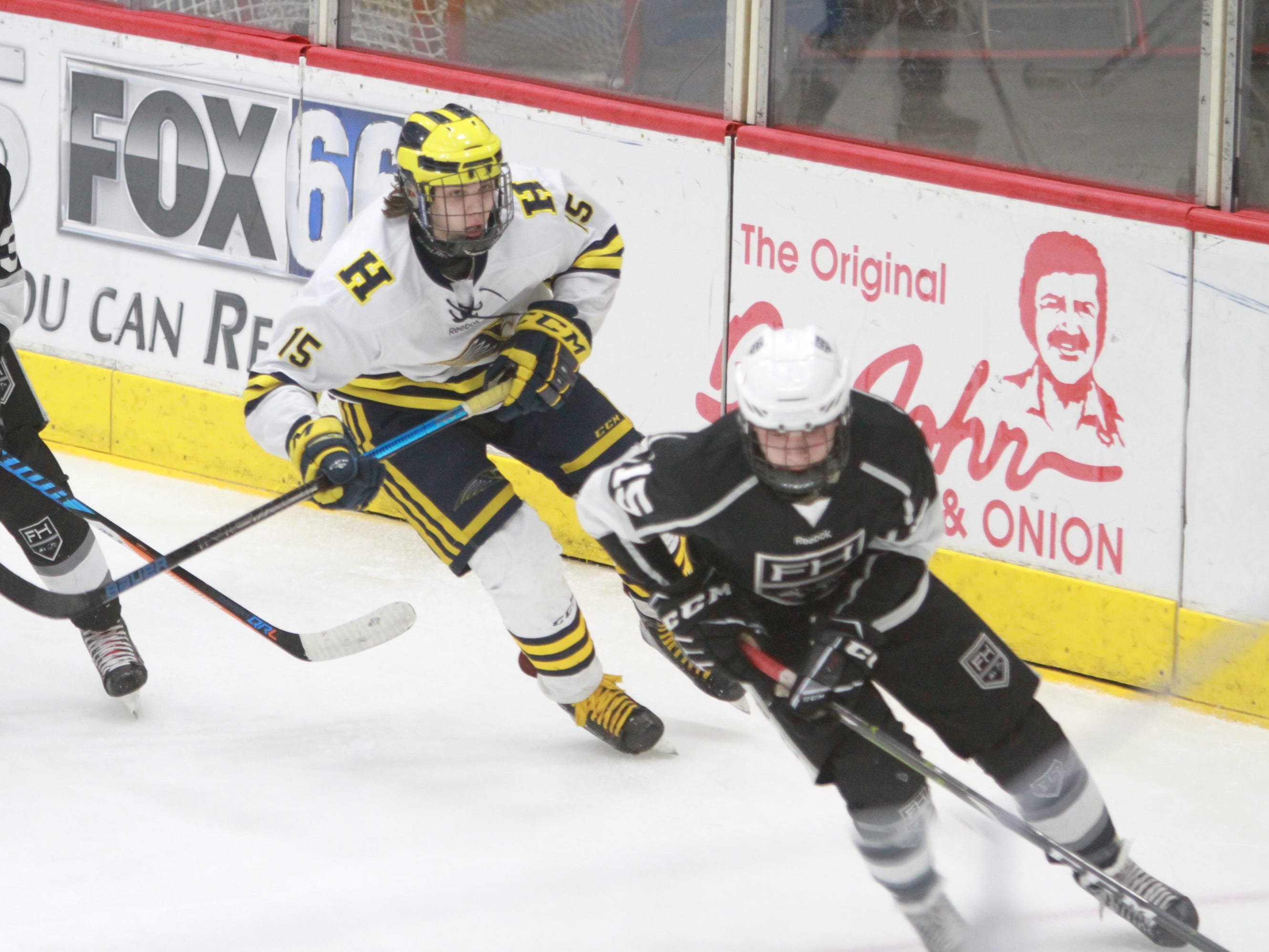 Hartland defenseman John Druskinis chases Forest Hills Eastern's Gabriel Gunneson during the Eagles' 6-0 victory in the state Division 2 hockey quarterfinals in Flint on Tuesday, March 5, 2019.