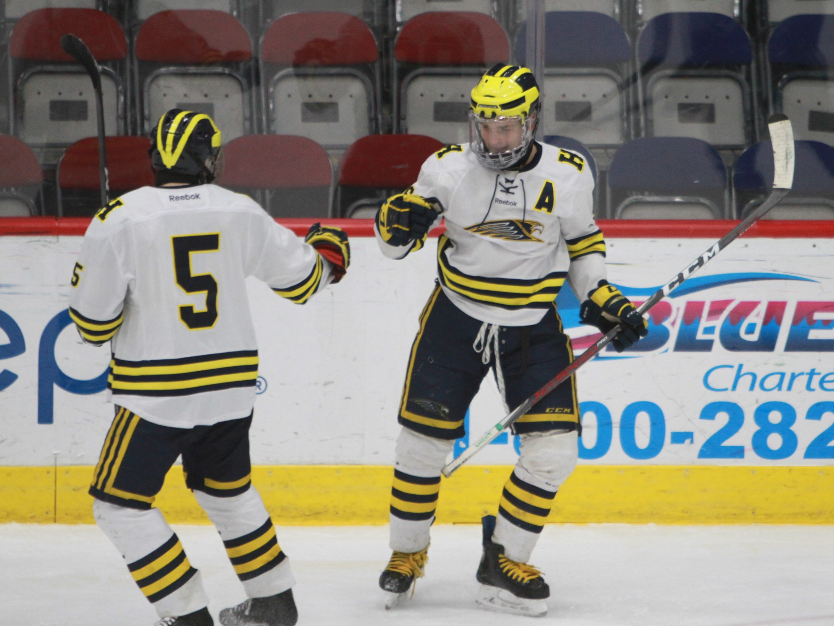 Hartland's Owen Pietila (right) celebrates his goal with Vlad Sarcevich, who drew the assist, during a 6-0 victory over Forest Hills Eastern in the state hockey quarterfinals on Tuesday, March 5, 2019.