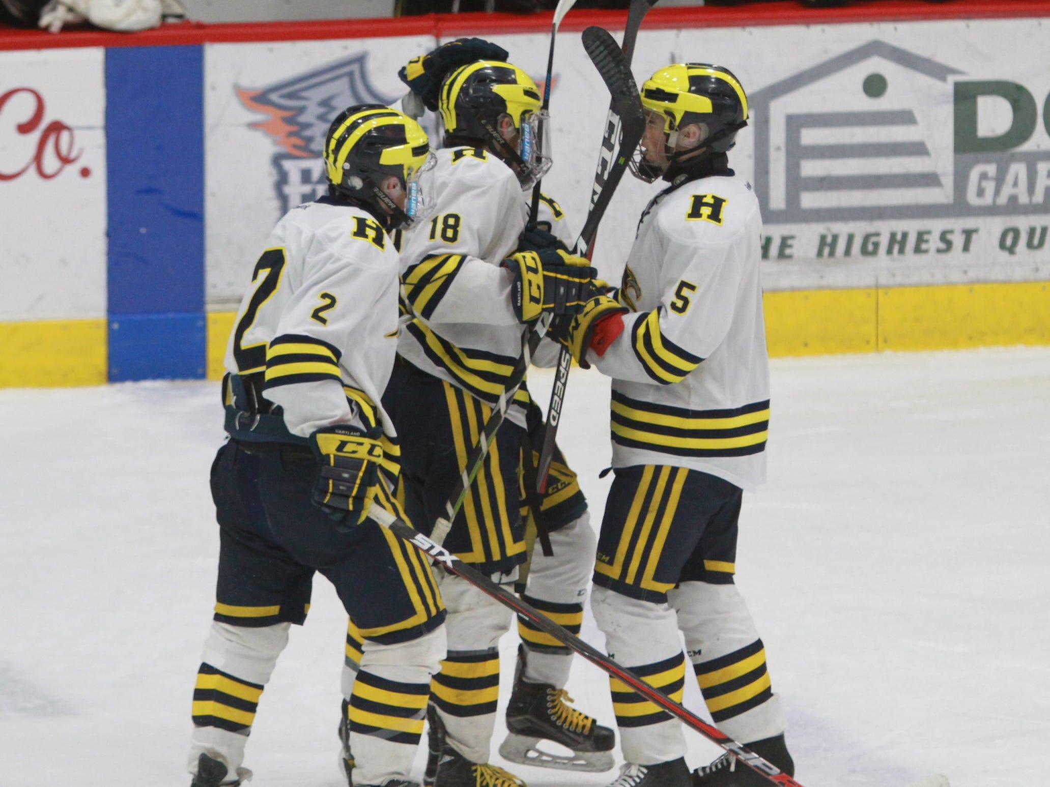 Hartland celebrates the game's first goal by Brenden Tulpa (18) during a 6-0 victory over Forest Hills Eastern in the state Division 2 hockey quarterfinals in Flint on Tuesday, March 5, 2019.