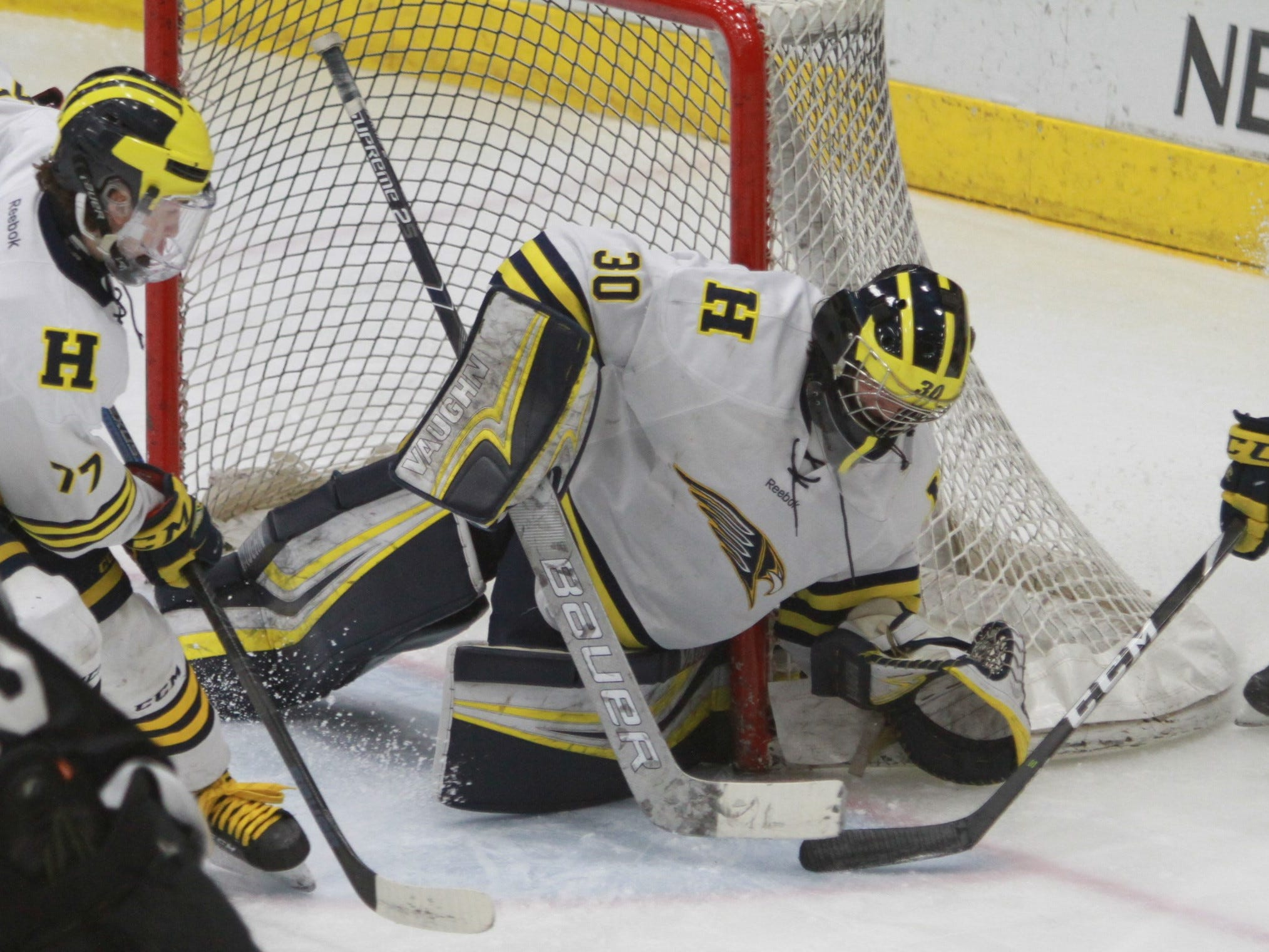 Hartland goalie Brett Tome covers up a loose puck at the side of the net during a 6-0 victory over Forest Hills Eastern in the state Division 2 hockey quarterfinals in Flint on Tuesday, March 5, 2019.