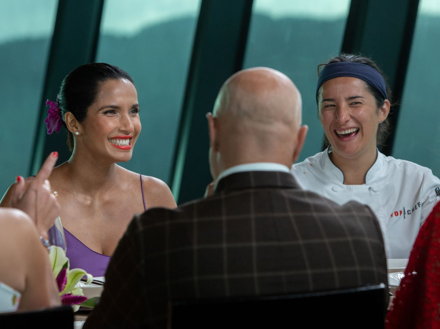 """(From left to right): Host Padma Lakshmi and contestant Michelle Minori share a laugh on """"The Tao of Macau,"""" episode 14 of Bravo's 'Top Chef:' Kentucky season."""