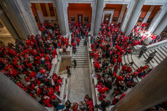 Teachers and their supporters gathered outside the House of Representatives in Frankfort to protest a controversial school funding bill. March 6, 2019.