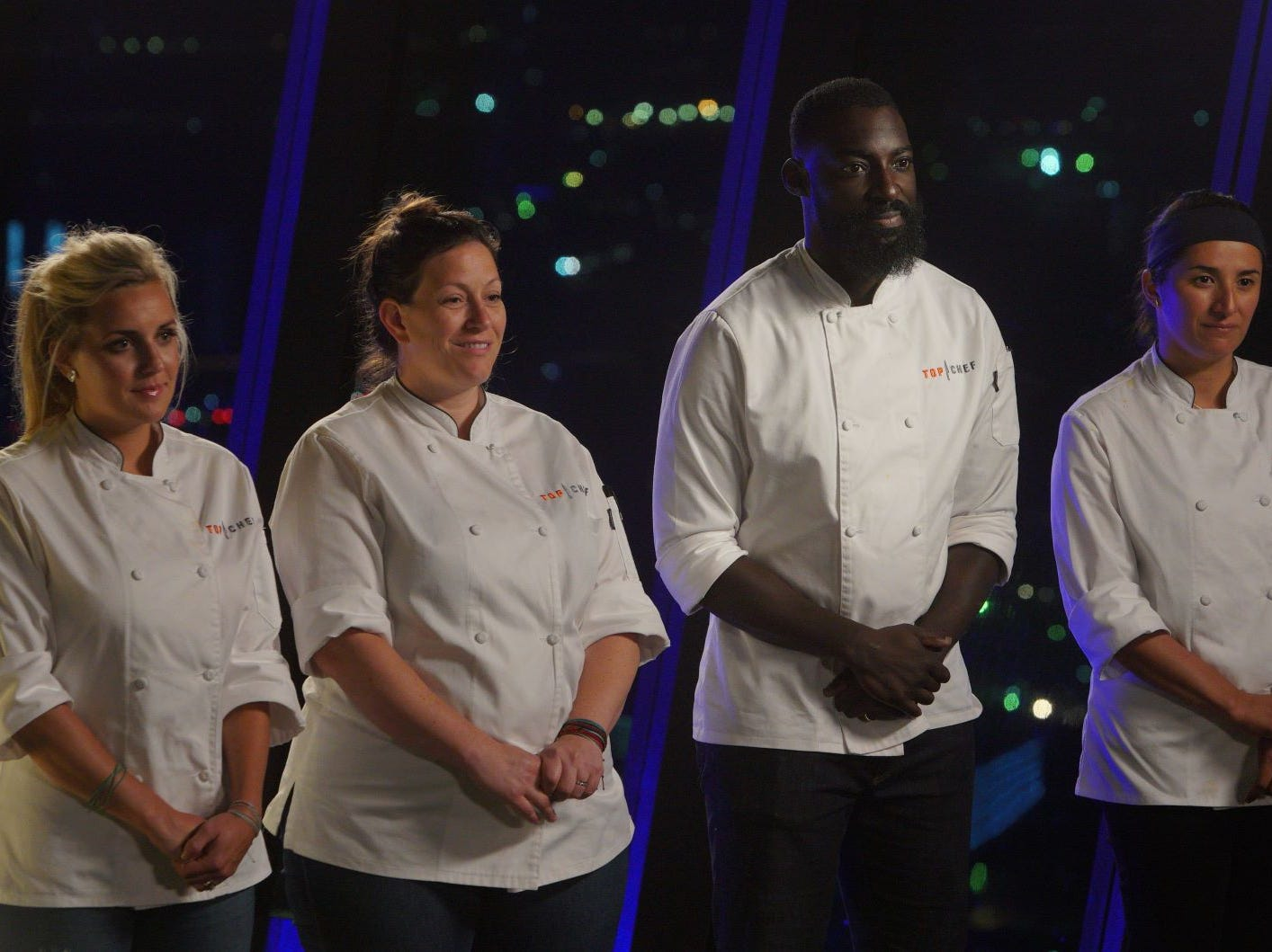 "(From left to right): Contestants Kelsey Barnard, Sara Bradley, Eric Adjepong and Michelle Minori on ""The Tao of Macau,"" episode 14 of Bravo's 'Top Chef:' Kentucky season."