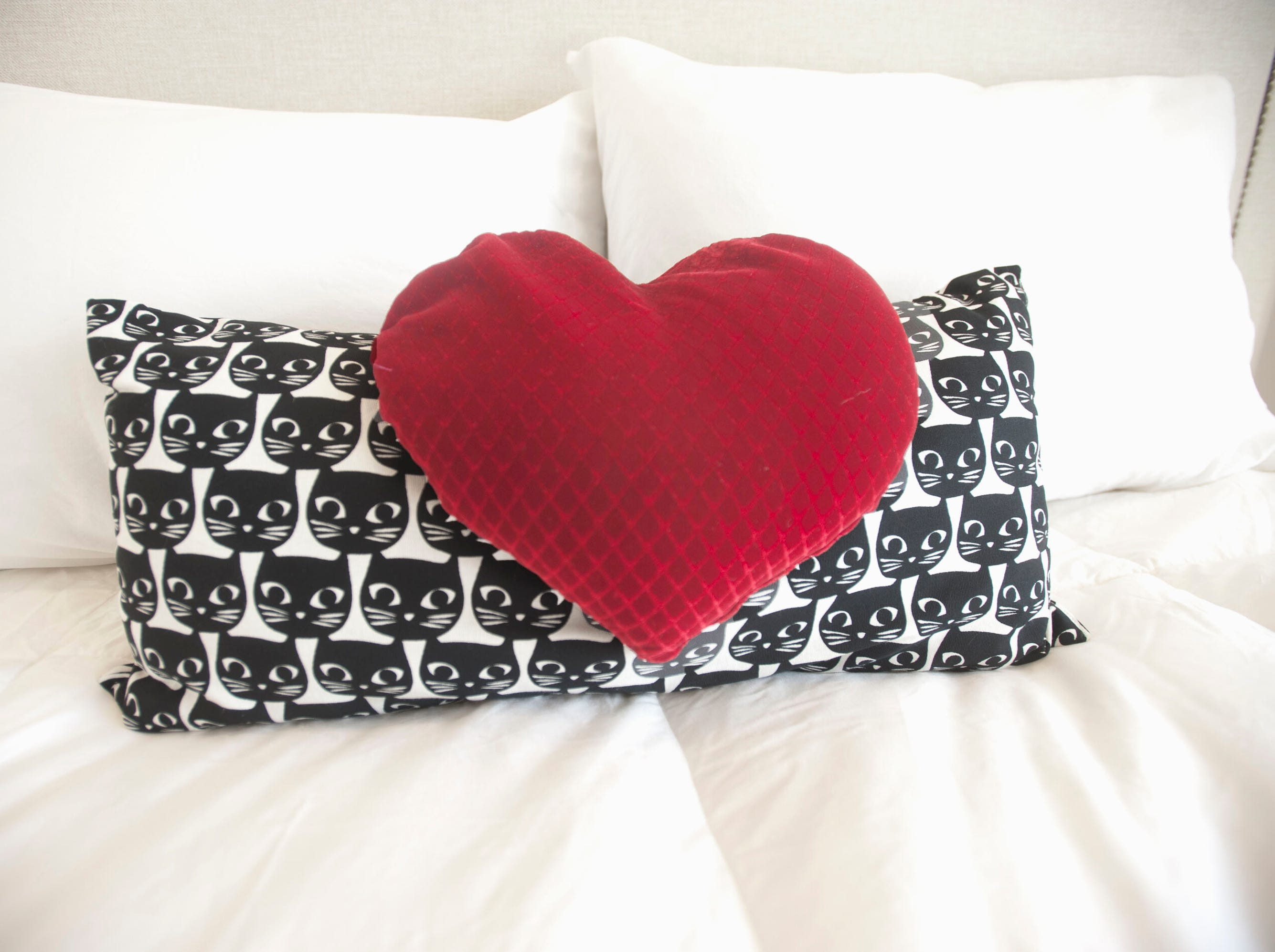 A cat pillow and a heart pillow sits atop the guest bed in the condominium of Denise Puthuff.