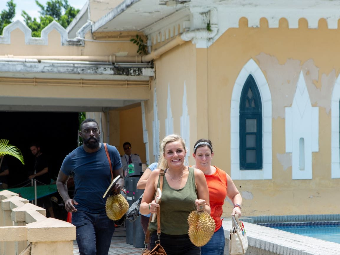 """(From left to right): Contestants Eric Adjepong, Kelsey Barnard and Sara Bradley on """"The Tao of Macau,"""" episode 14 of Bravo's 'Top Chef:' Kentucky season."""